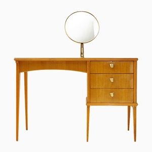 Italian Vanity Table with Brass Frame Mirror, 1950s