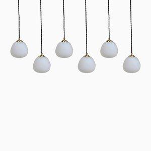 Lampade a sospensione in vetro opalino e ottone, set di 6