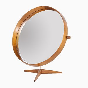 Specchio da tavolo in teak di Uno & Osten Kristiansson per Luxus, Svezia, anni '60