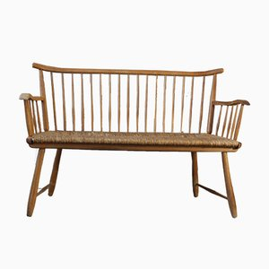 Wicker Bench by Arno Lambrecht for WK Möbel, 1950s