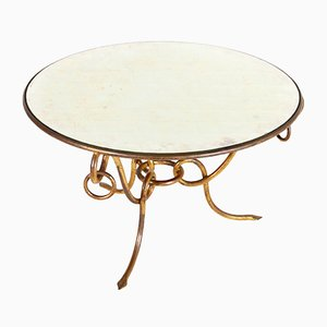 Vintage Coffee Table in Gilded Forged Iron by René Drouet, 1940s