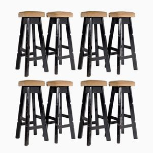 French Art Deco Black Lacquered Wood Stools, 1930s, Set of 8