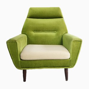 Danish High Back Armchair with Green Velour Upholstery, 1970s