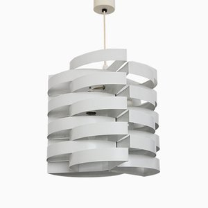 Weiß Lackierte Französische Deckenlampe von Max Sauze, 1970er