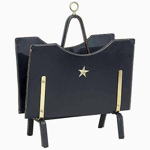 Magazine Rack in Leather and Brass by Jacques Adnet, 1950s