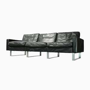 Vintage Black Leather Conseta 3-Seater Sofa by Friedrich W. Möller for Cor, 1960s