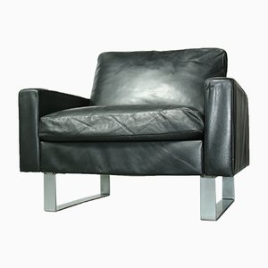 Black Leather Conseta Lounge Chair by Friedrich W. Möller for Cor, 1960s