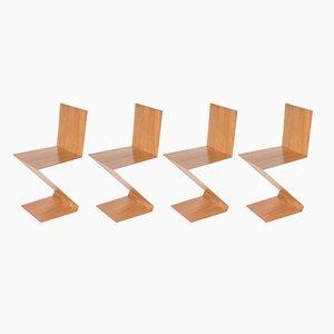 Mid-Century Zig-Zag Chairs by Gerrit Thomas Rietveld, 1960s, Set of 4