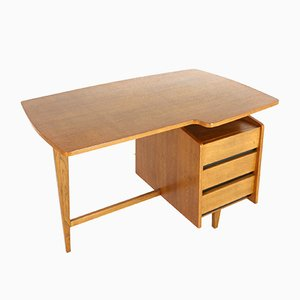 French Freeform Oak Desk by Jacques Hauville, 1950s
