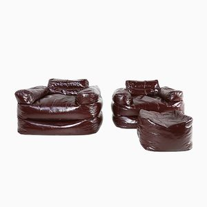 Italian Beanbag Chairs and Footstool Set, 1970s