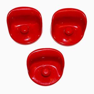 Rote Wandhaken von Olaf von Bohr für Kartell, 1960er, 3er Set