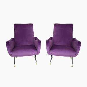 Italian Light Purple Velvet Armchairs, 1950s, Set of 2