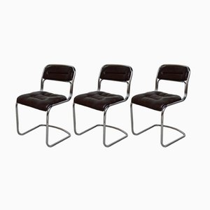 Verchromte Mid-Century Metall und Skai Stühle, 1970er, 3er Set