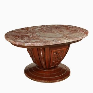 Tavolo in marmo, legno massiccio e impiallacciato in noce, anni '50