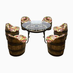 Vintage Barrel Garden Table and Chairs Set