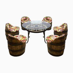 Vintage Fässer Gartentisch und Stühle