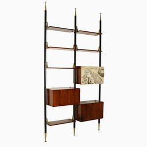 Vintage Rosewood Veneer & Brass Floor-to-Ceiling Bookcase