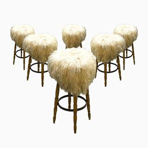 Vintage German Sheepskin Barstools from Spahn, Set of 6