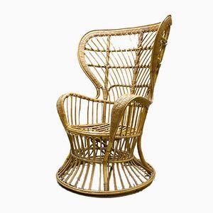 Vintage Peacock Rattan Chair by Gio Ponti for Bonacina