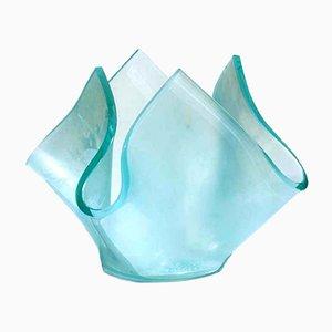 Aquamarine Acid Kristall Vase für Fontana Arte, 1950er