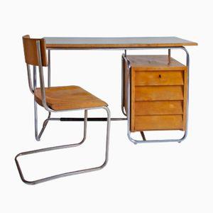 Italienischer Bauhaus Stil Schreibtisch & Stuhl von Columbus, 1940er