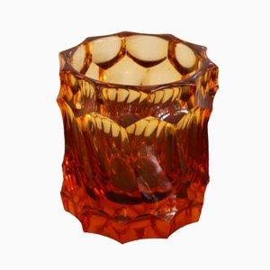 Vaso vintage in vetro intagliato