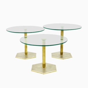 Vintage Nesting Side Tables in Brass and Glass