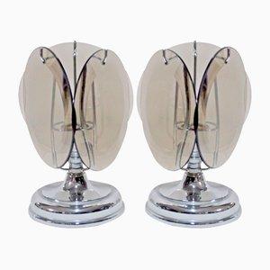 Murano Glas Tischlampen von Vistosi, 1960er, 2er Set