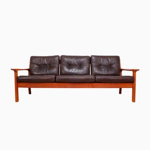 Mid-Century Sofa in Teak and Leather from Glostrop