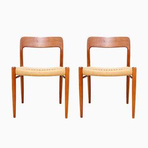 Chaises de Salon Modèle 75 en Teck par Niels Otto Møller pour J.L. Møllers, Set de 4