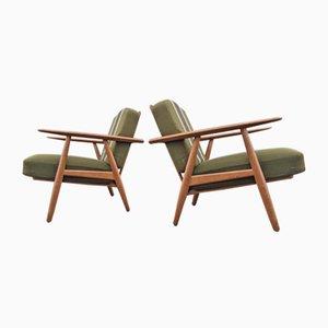 Oak Cigar Easy Chairs by Hans Jørgen Wegner for Getama, 1950s, Set of 2