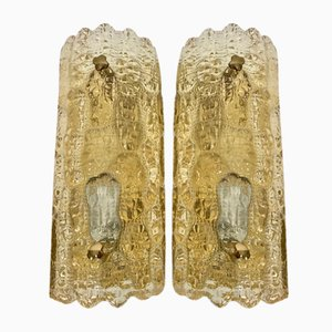 Scandinavian Glass Wall Sconces by Carl Fagerlund for Orrefors, 1960s, Set of 2