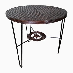 French Rattan and Iron Bistro Table, 1950s