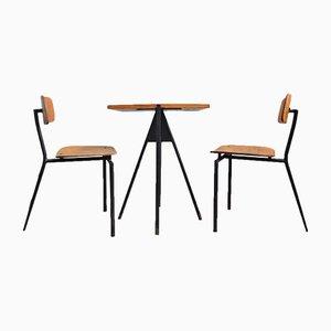 Set di tavolo e due sedie da bistrò vintage, anni '80