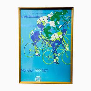 Vintage München Olympiade Radfahrer Plakat, 1972