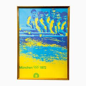 Poster vintage delle olimpiadi estive di canottaggio a Monaco, 1972