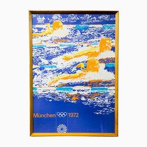 Poster vintage delle olimpiadi estive di nuoto a Monaco, 1972