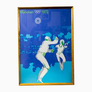 Vintage Munich Summer Olympics Fencing Poster, 1972