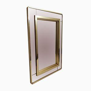 Specchio grande in vetro fumé e placcato in oro di Belgo Chrom, anni '80