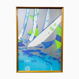 Serigrafia vintage delle olimpiadi estive di vela, 1972