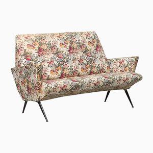 Italian Angular Sofa with Metal Legs, 1950s
