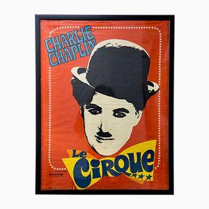 Französisches Mid-Century Charlie Chaplin Circus Filmplakat, 1960er