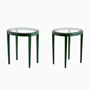 Italienische Grüne Vintage Beistelltische, 1930er, 2er Set