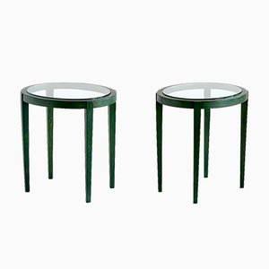 Vintage Italian Green Side Tables, 1930s, Set of 2