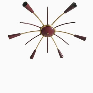 Mid-Century 6-Armed Space Age Wall or Ceiling Light