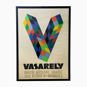 Ungarisches Victor Vasarely Ausstellungsplakat, 1969