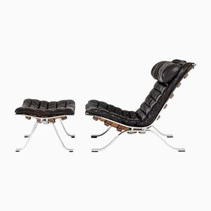 Ari Lounge Chair with Ottoman by Arne Norell, 1960s