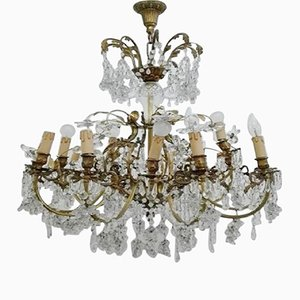 Bronze and Crystal Chandelier, 1950s