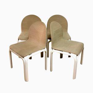 Weiße Lackierte Esszimmerstühle von Gae Aulenti für Knoll, 1977, 4er Set