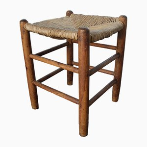 Vintage N°17 Hocker mit Sitz aus Stroh von Charlotte Perriand für L'Equipement de la Maison